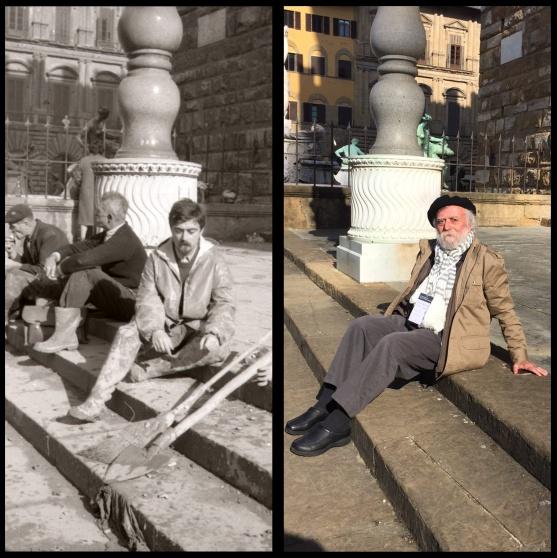 Fausto Braganti in Piazza della Signoria a Firenze nel novembre 1966 (a sinistra) e nel novembre 2016 (a destra) | © foto di Fausto Braganti