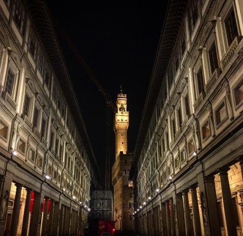Il centro storico di Firenze nella notte del 4 novembre 2016