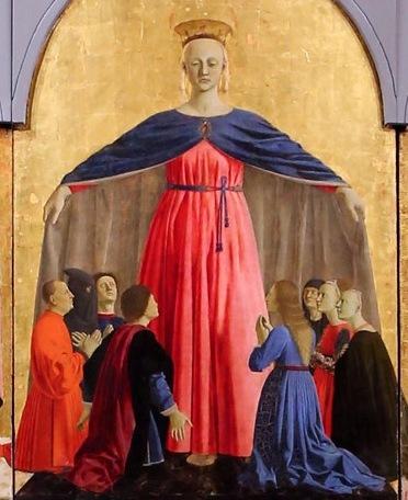 Madonna della Misericordia di Piero della Francesca - Pala centrale dell'omonimo Polittico