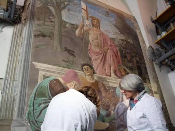 Il restauro della Resurrezione di Piero della Francesca - foto Corriere della Sera